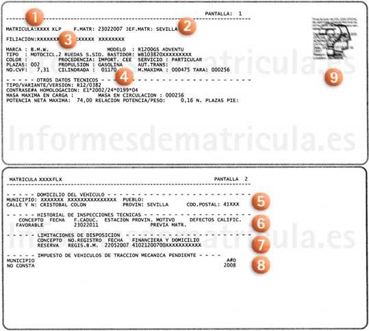 Informes de veh culos por matr cula registro de bienes for Registro de bienes muebles sevilla