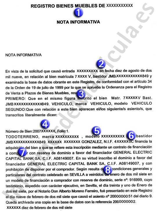 Ejemplo de informe del Registro de Bienes Muebles